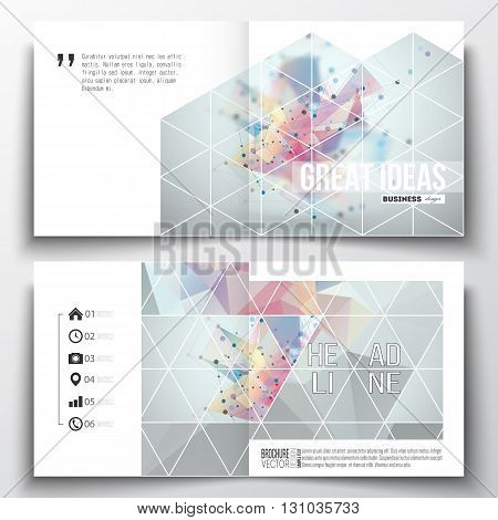Vector set of square design brochure template. Molecular construction with connected lines and dots, scientific pattern on colorful polygonal background, modern stylish triangle vector texture