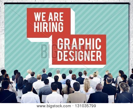 We are Hiring Job Creative Occupation Designer Concept