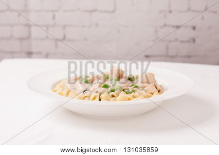 chicken stroganoff with a creay mushroom sauce over shell pasta