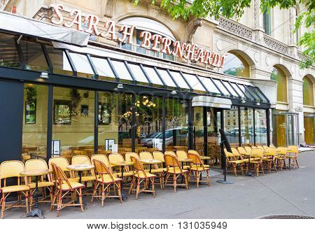 Paris; France-may 16 2016 : The French cafe Sarah Bernardt named after the famed Parisian actress and singer located at place du Chatelet in Paris.