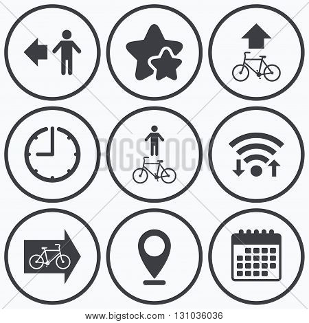Clock, wifi and stars icons. Pedestrian road icon. Bicycle path trail sign. Cycle path. Arrow symbol. Calendar symbol.