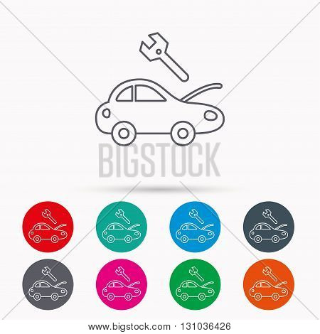Car service icon. Transport repair with wrench key sign. Linear icons in circles on white background.