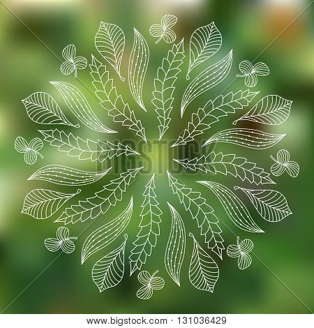 Foliage on blurred background.  Cover background. Decorative element