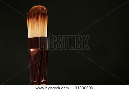 Professional makeup brush on black background