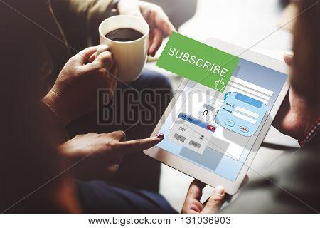 Subscribe Member Register Social Media Feed Concept