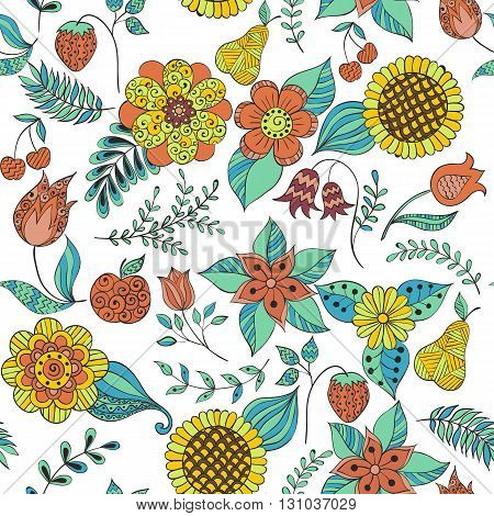 hand-drawing colorful floral doodle seamless pattern with flowers, leaves, branches, fruits and berries.