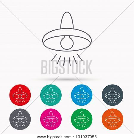Ceiling lamp icon. Light illumination sign. Linear icons in circles on white background.