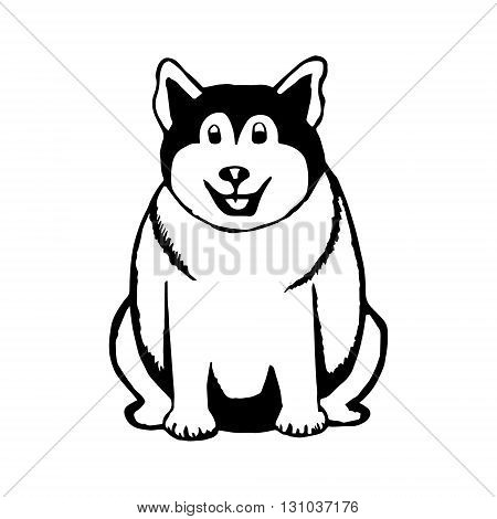 Graphic image of a dog. Fat dog on white background vector illustration