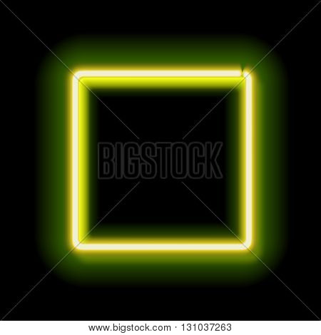 Neon square. Neon green light. electric frame. Vintage frame. Retro neon lamp. Space for text. Glowing neon background. Abstract electric background. Neon sign square. Glowing electric frame