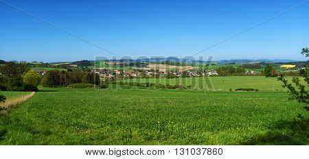 Landscape in spring south of Bohemia near Kdyne town