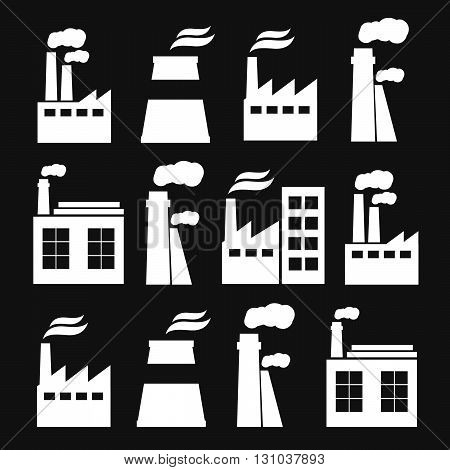 Set of industry manufactory building icons eps10