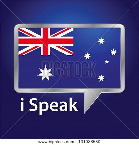 Vector stock of Australia flag inside speech bubble Australian English language