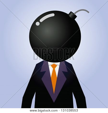 Vector stock of businessman with explosive as his head