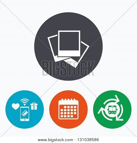 Photo frames template sign icon. Empty photography symbol. Mobile payments, calendar and wifi icons. Bus shuttle.