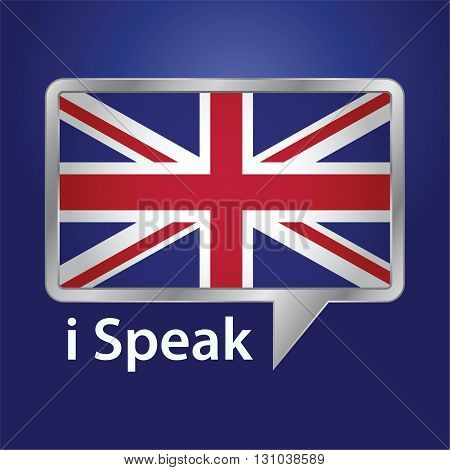 Vector stock of Great Britain flag inside speech bubble speaking English language