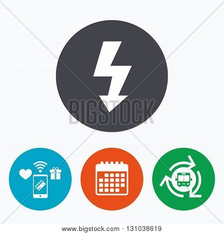 Photo flash sign icon. Lightning symbol. Mobile payments, calendar and wifi icons. Bus shuttle.