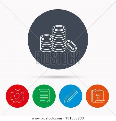 Coins icon. Cash money sign. Bank finance symbol. Calendar, cogwheel, document file and pencil icons.