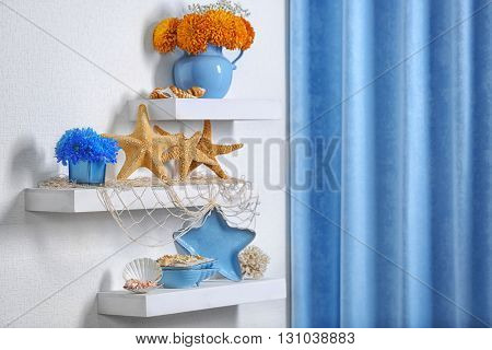 Blue home decor on the shelf