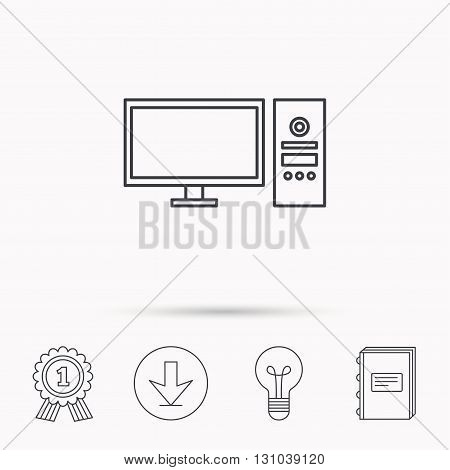 Computer PC icon. Widescreen display sign. Download arrow, lamp, learn book and award medal icons.