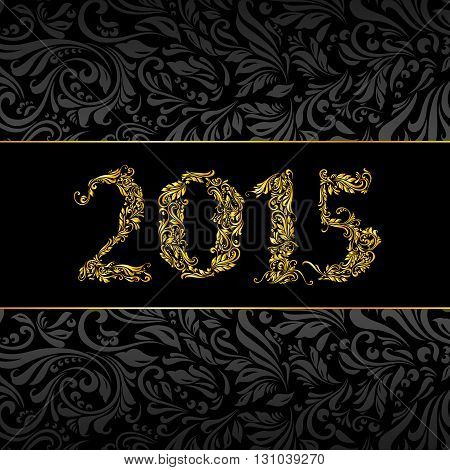 Elegant black and golden banner for year 2015 over ornate floral pattern background