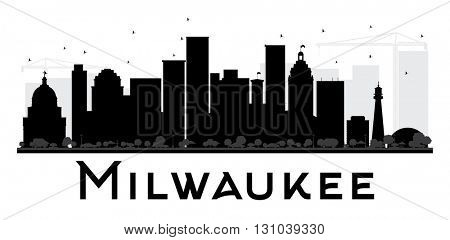 Milwaukee City skyline black and white silhouette. Vector illustration. Simple flat concept for tourism presentation, banner, placard or web site. Cityscape with landmarks