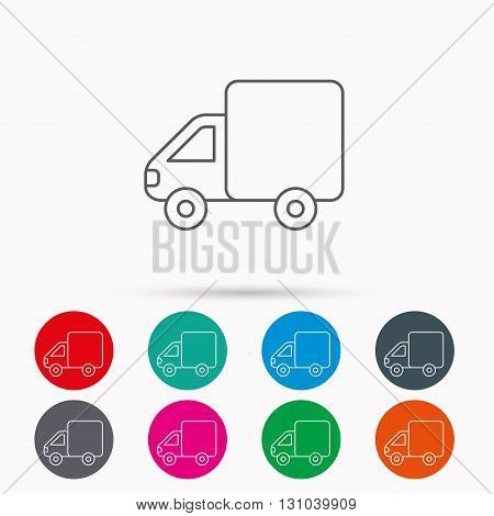 Delivery truck icon. Transportation car sign. Logistic service symbol. Linear icons in circles on white background.