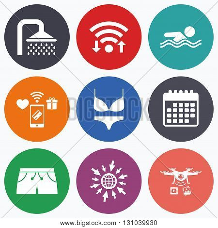 Wifi, mobile payments and drones icons. Swimming pool icons. Shower water drops and swimwear symbols. Human swims in sea waves sign. Trunks and women underwear. Calendar symbol.
