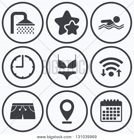 Clock, wifi and stars icons. Swimming pool icons. Shower water drops and swimwear symbols. Human swims in sea waves sign. Trunks and women underwear. Calendar symbol.
