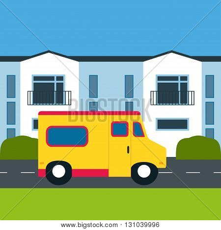 Motor home. Vector illustration. Motor home near a house. Retro car. Motor home white building shrubs grass. Flat design