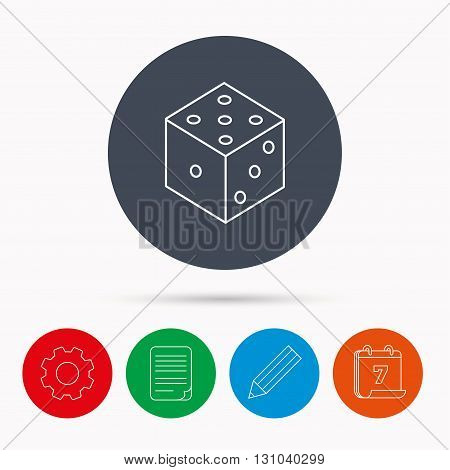 Dice icon. Casino gaming tool sign. Winner bet symbol. Calendar, cogwheel, document file and pencil icons.