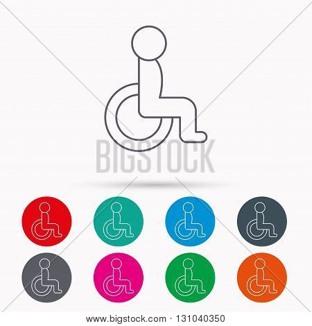 Disabled person icon. Human on wheelchair sign. Patient transportation symbol. Linear icons in circles on white background.