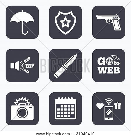 Mobile payments, wifi and calendar icons. Gun weapon icon.Knife, umbrella and photo camera with flash signs. Edged hunting equipment. Prohibition objects. Go to web symbol.