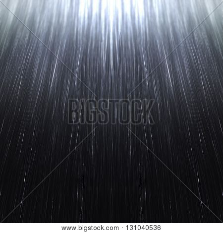 Rain spray pattern on a dark sky