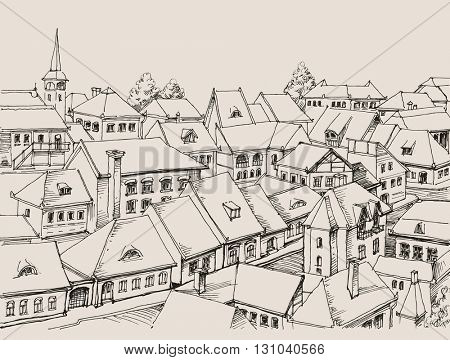 House roofs drawing, small cityscape