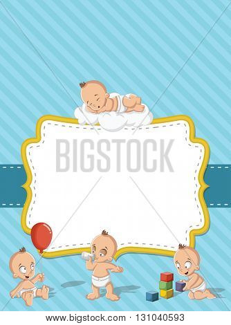 Card with a baby boy wearing diaper. Cute toddler.