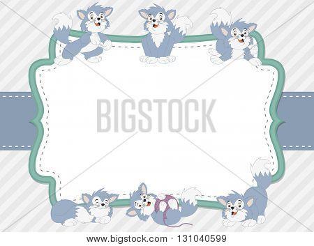 Blue card with a cartoon blue kitten. Cute playful cat.
