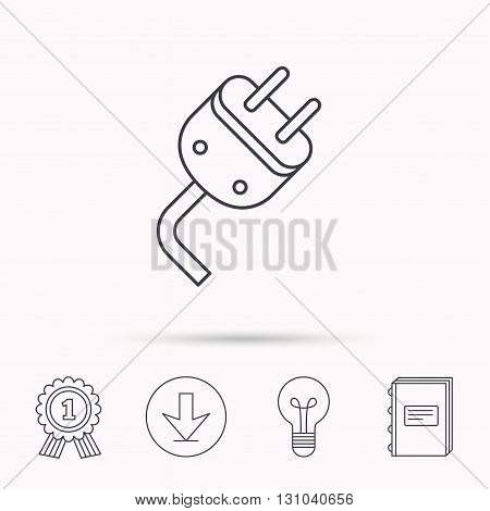Electric plug icon. Electricity power sign. Cord energy symbol. Download arrow, lamp, learn book and award medal icons.