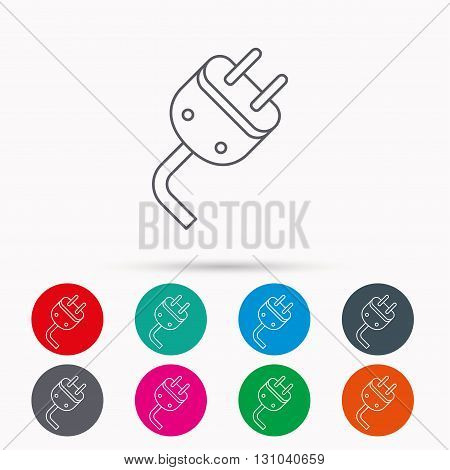 Electric plug icon. Electricity power sign. Cord energy symbol. Linear icons in circles on white background.