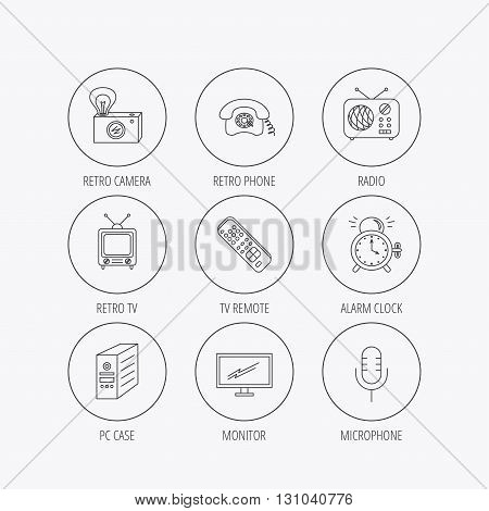 Retro camera, radio and phone call icons. Monitor, PC case and microphone linear signs. TV remote, alarm clock icons. Linear colored in circle edge icons.