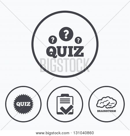 Quiz icons. Brainstorm or human think. Checklist symbol. Survey poll or questionnaire feedback form. Questions and answers game sign. Icons in circles.