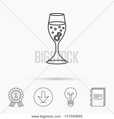 Glass with ring icon. Engagement symbol. Download arrow, lamp, learn book and award medal icons.