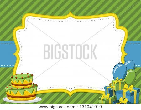 Card with a birthday party. Balloons and presents.