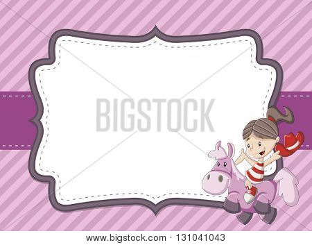 Card with a happy cartoon girl riding a pony