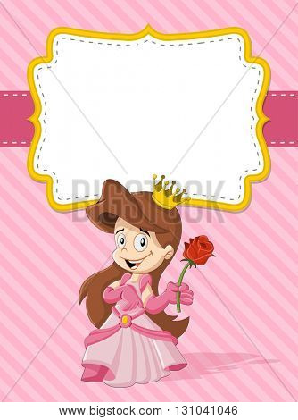 Card with a happy cartoon princess
