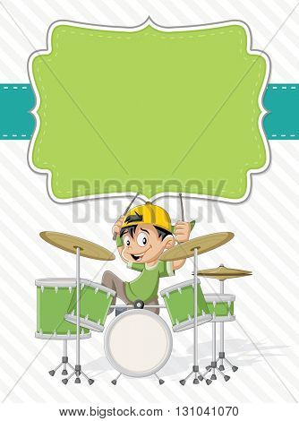 Card with a cartoon children playing rock'n'roll on drums