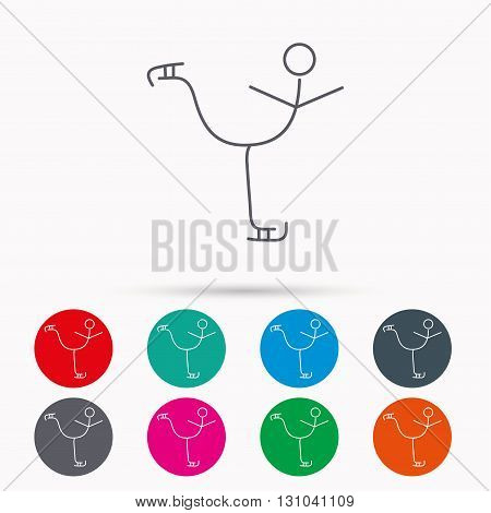 Figure skating icon. Professional winter sport sign. Linear icons in circles on white background.
