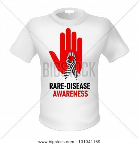 White t-shirt with sign rare-disease awareness. Red hand with black and white ribbon