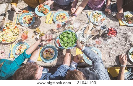 Above view of a rustic table with various food