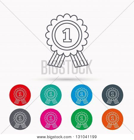 Gold medal award icon. First place sign. Winner symbol. Linear icons in circles on white background.