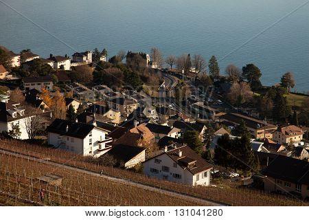 Swiss village on Lake Geneva (Lac Leman)